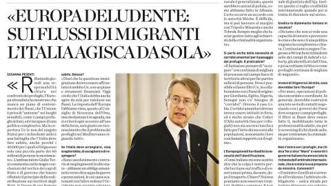<< Europa deludente: sui flussi di migranti l'Italia agisca da sola >>