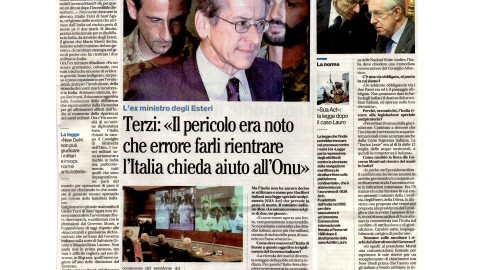 """Terzi: """"Il pericolo era noto, che errore farli rientrare, l'Italia chieda aiuto all' Onu"""""""